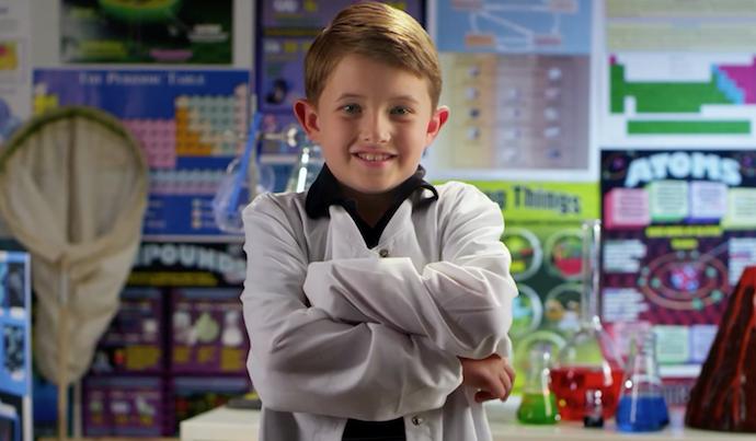 Child in labcoat