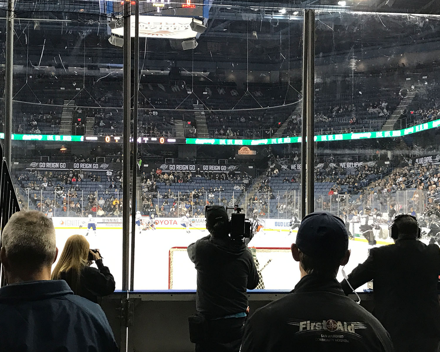 Filming a hockey game