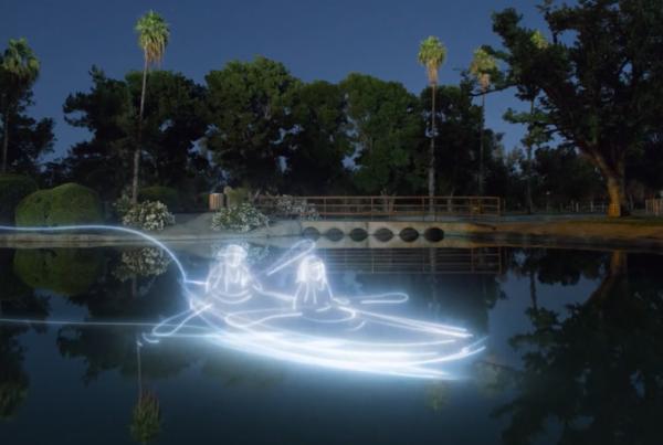Canoe made of light beams